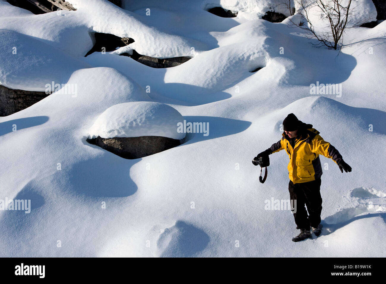 Female photographer, Jasper National Park, Alberta, Canada - Stock Image
