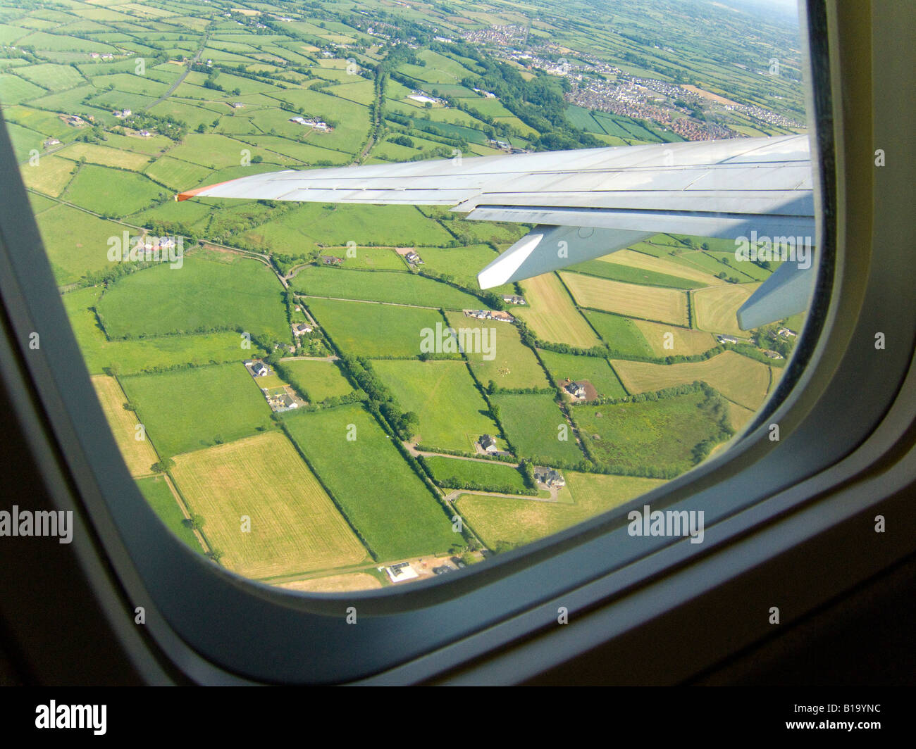 View from an aeroplane window during take off, - Stock Image