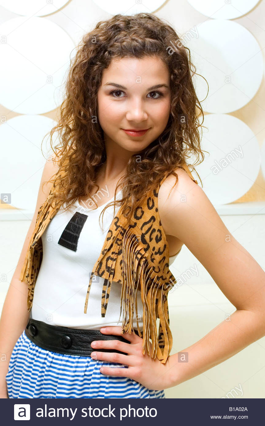 512394affd Young fashion model wearing a leopard print outfit Stock Photo ...