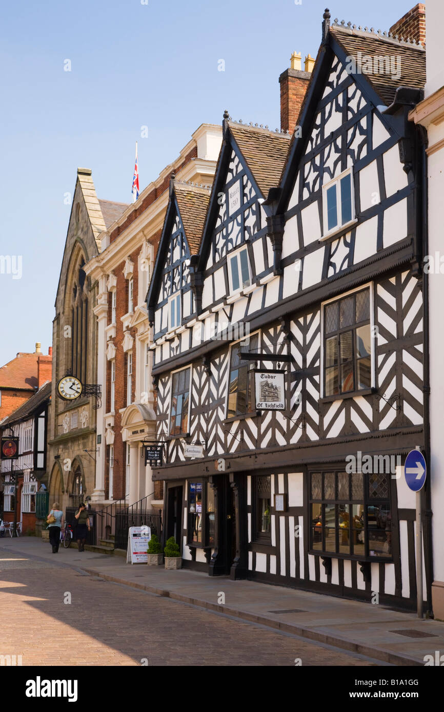 16th century black and white timber framed Tudor building 1510 in Bore Street Lichfield Staffordshire West Midlands - Stock Image