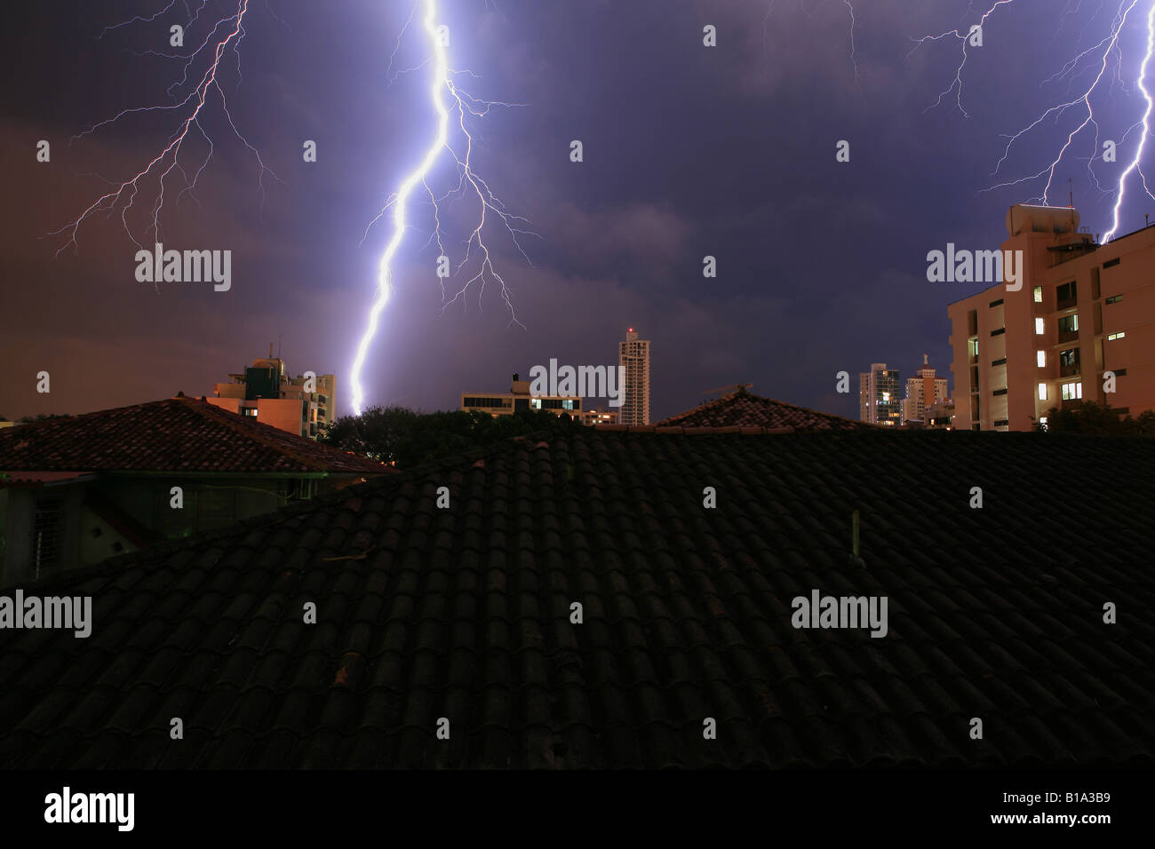 Thunderstorm and lightning in Panama city, Republic of Panama. - Stock Image