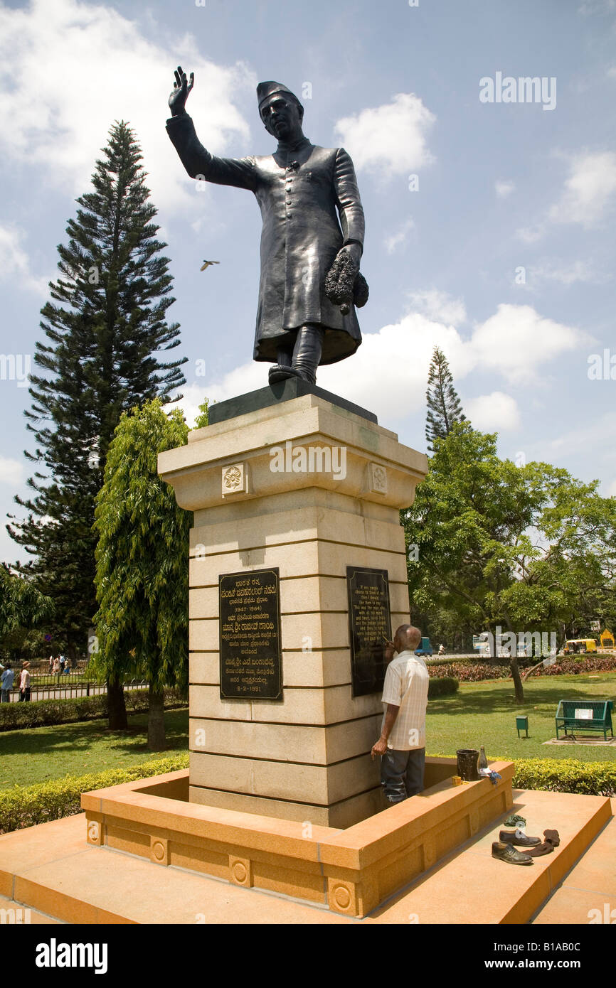 A statue of the first Prime Minister of Independent India Jawaharlal Nehru. It is located near the Vidhana Soudha, - Stock Image