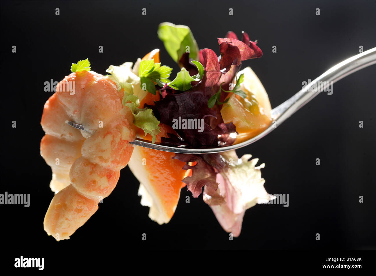 Fork with crab salad - Stock Image
