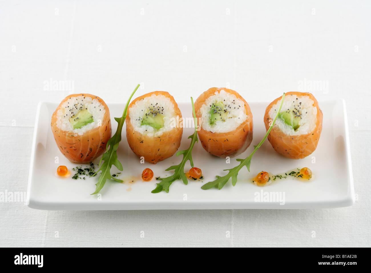 Marinated salmon sushi (zhenital) - Stock Image