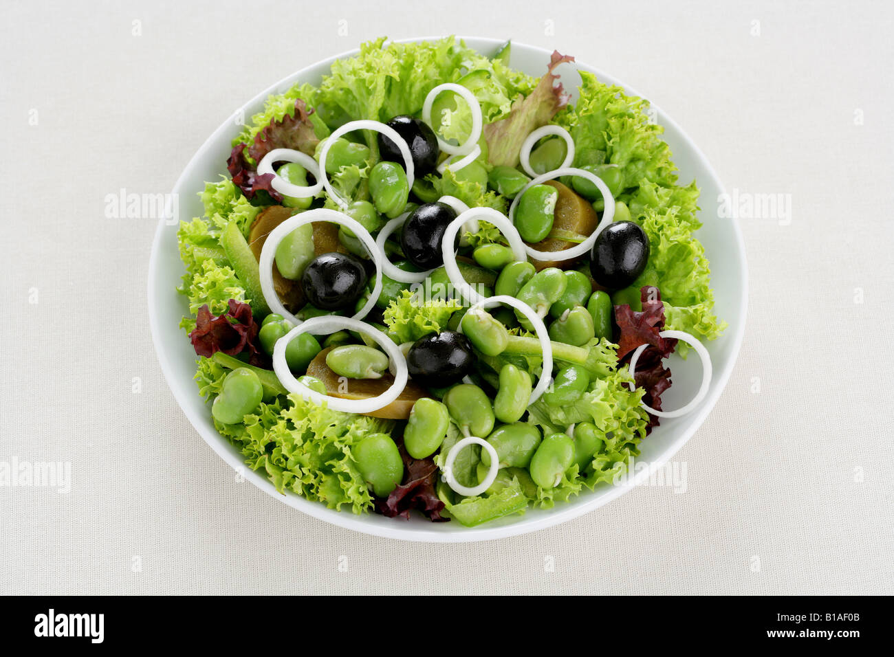 Salad of fresh broad beans (zhenital) - Stock Image