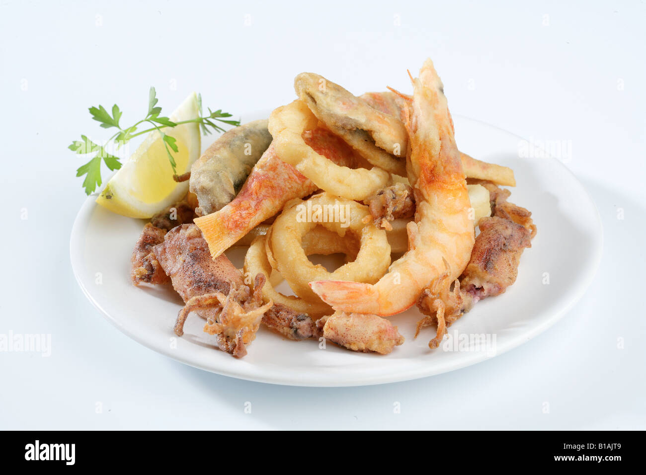 Fried fish and seefood - Stock Image