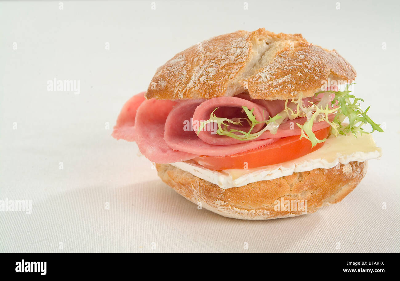 Cooked cold meat and cheese sandwich Stock Photo: 18063108 - Alamy
