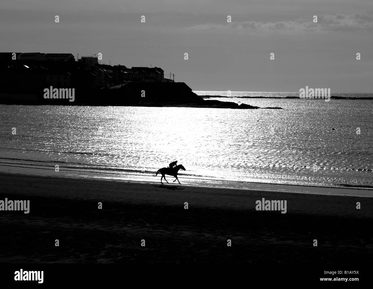 An equestrian riding a horse along the beach of Kilkee Bay in sunset. County Clare, Ireland. Stock Photo
