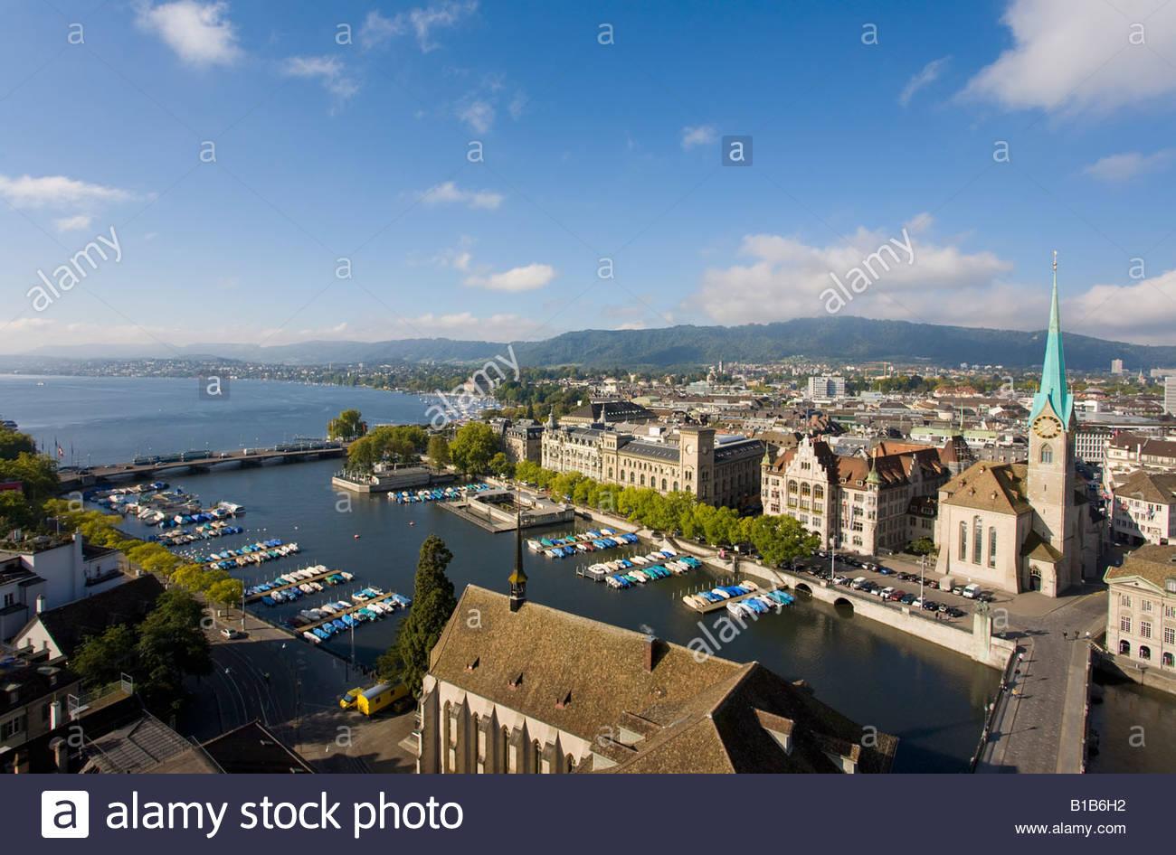 Switzerland, Zurich, Citiscape, Grossmünster and lake Zurich - Stock Image