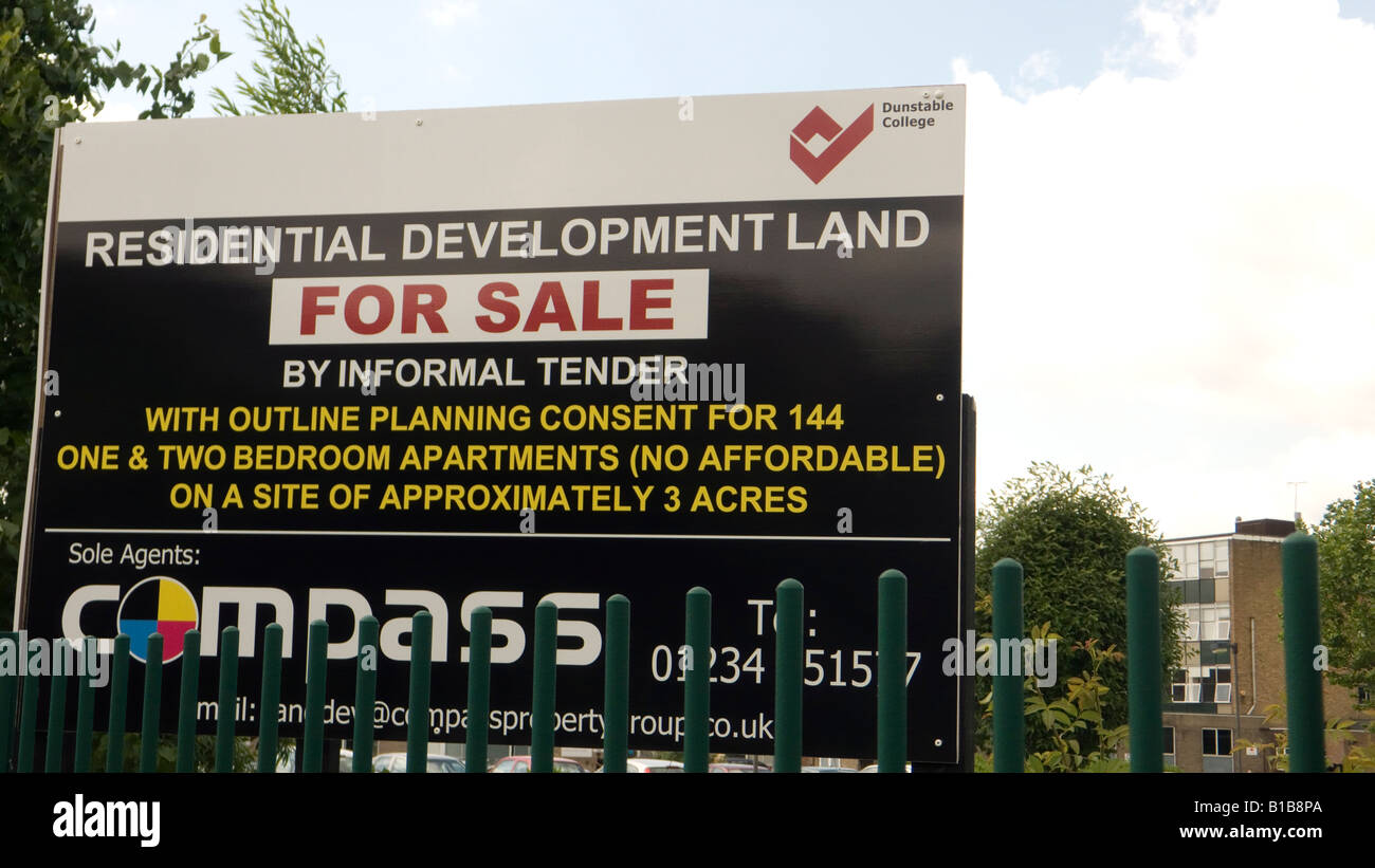 For sale sign at dunstable college residential development land for sale by informal tender with outline planning permission con