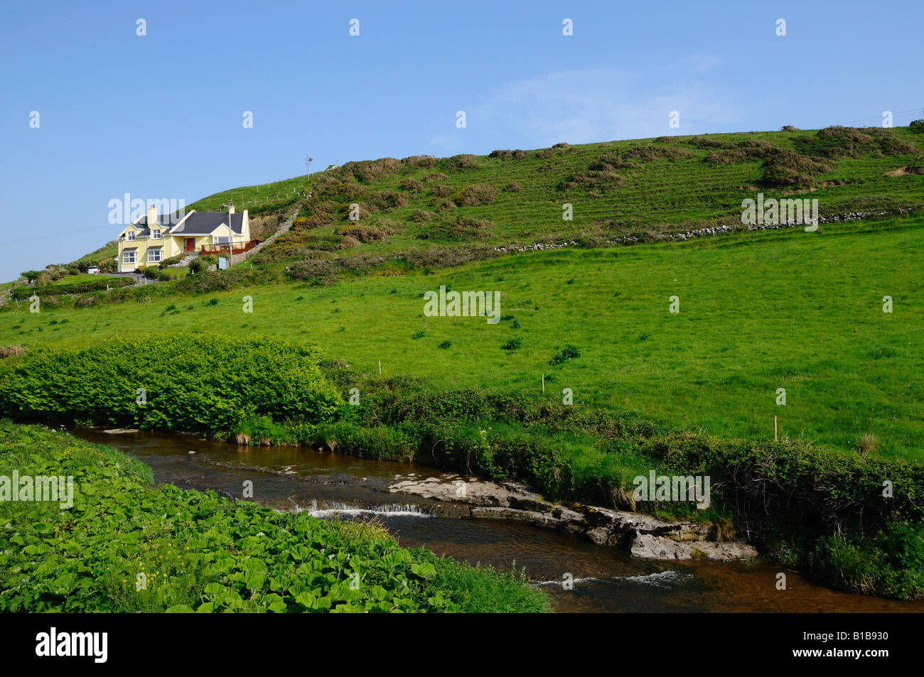Green countryside of western Ireland. - Stock Image
