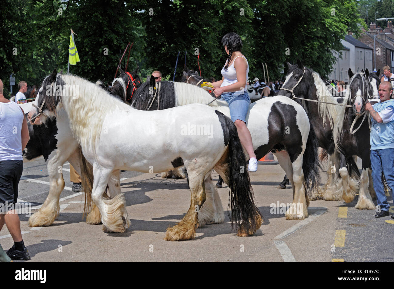 Gypsy travellers at Appleby Horse Fair. Appleby-in-Westmorland, Cumbria, England, United Kingdom, Europe. Stock Photo