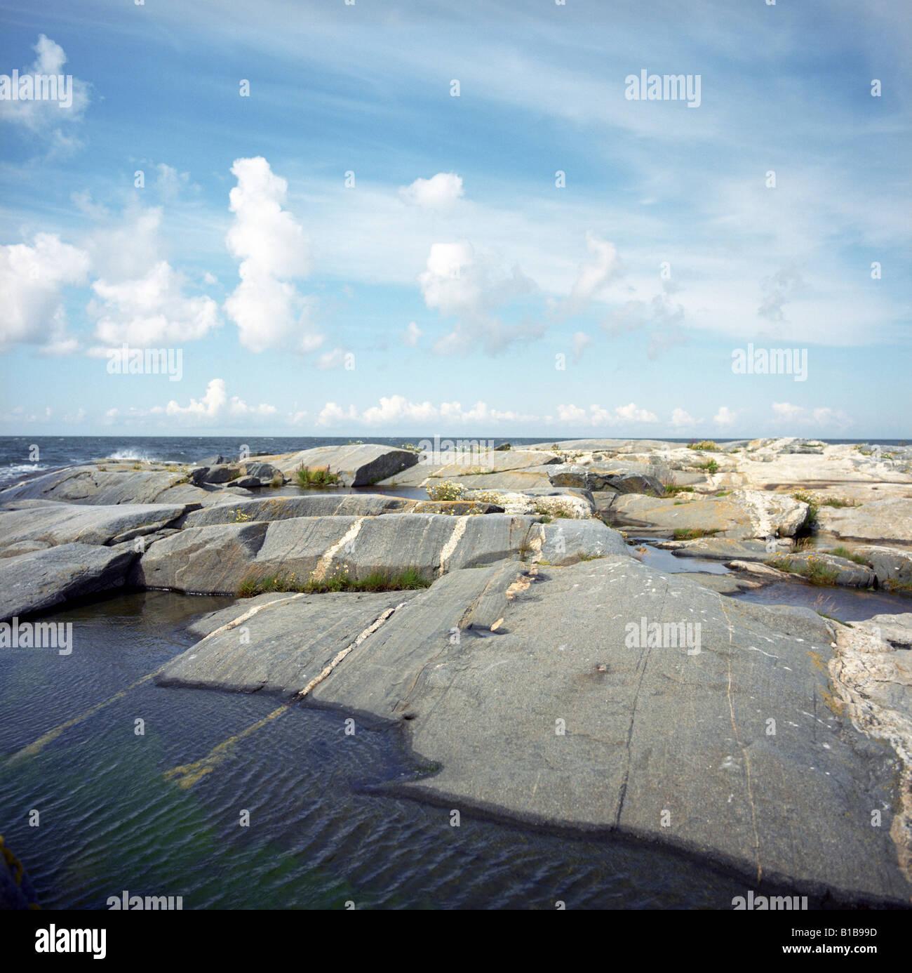 Finland, Lghthouse Island, rocky coast - Stock Image
