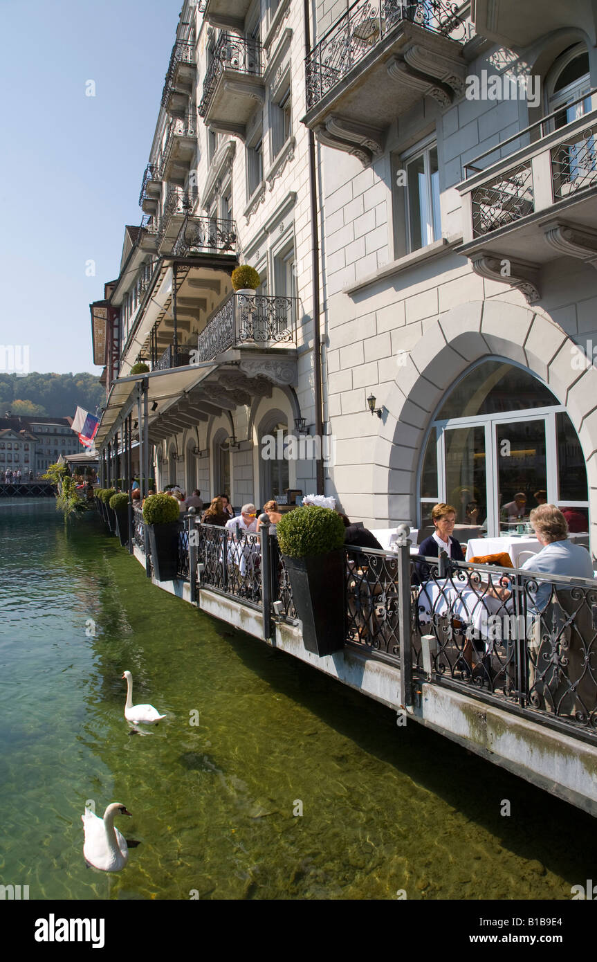 Switzerland, Lucerne, Hotel Restaurant Des Balances on the waterfront - Stock Image