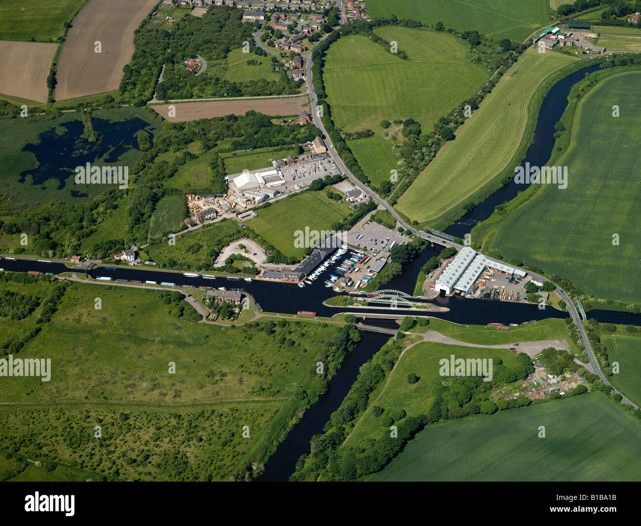 Canal and Aquaduct from the Air, Stanley Ferry, Wakefield, West Yorkshire, Northern England - Stock Image