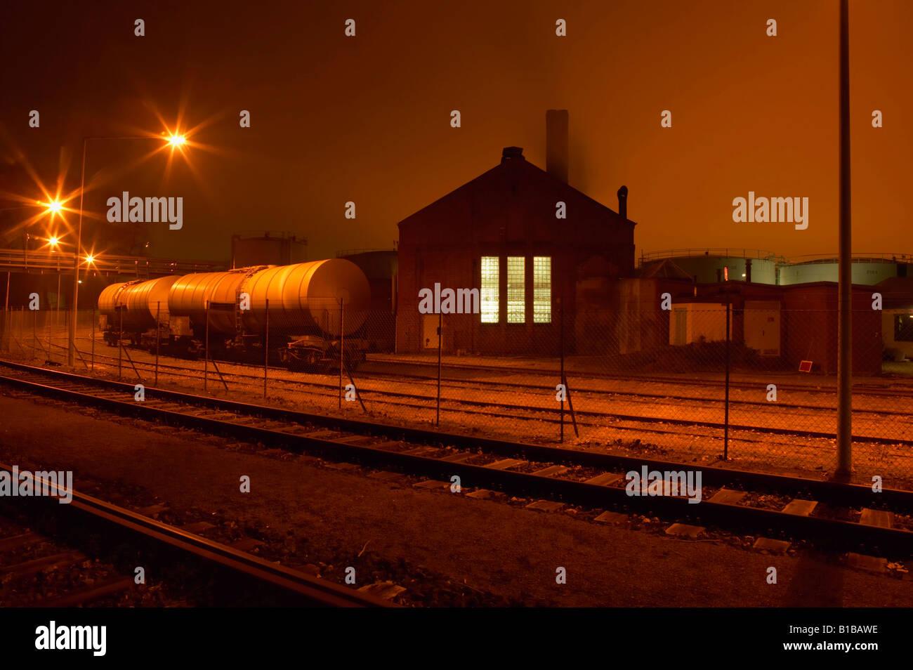 Germany, Hamburg, Petroleum harbour at night - Stock Image