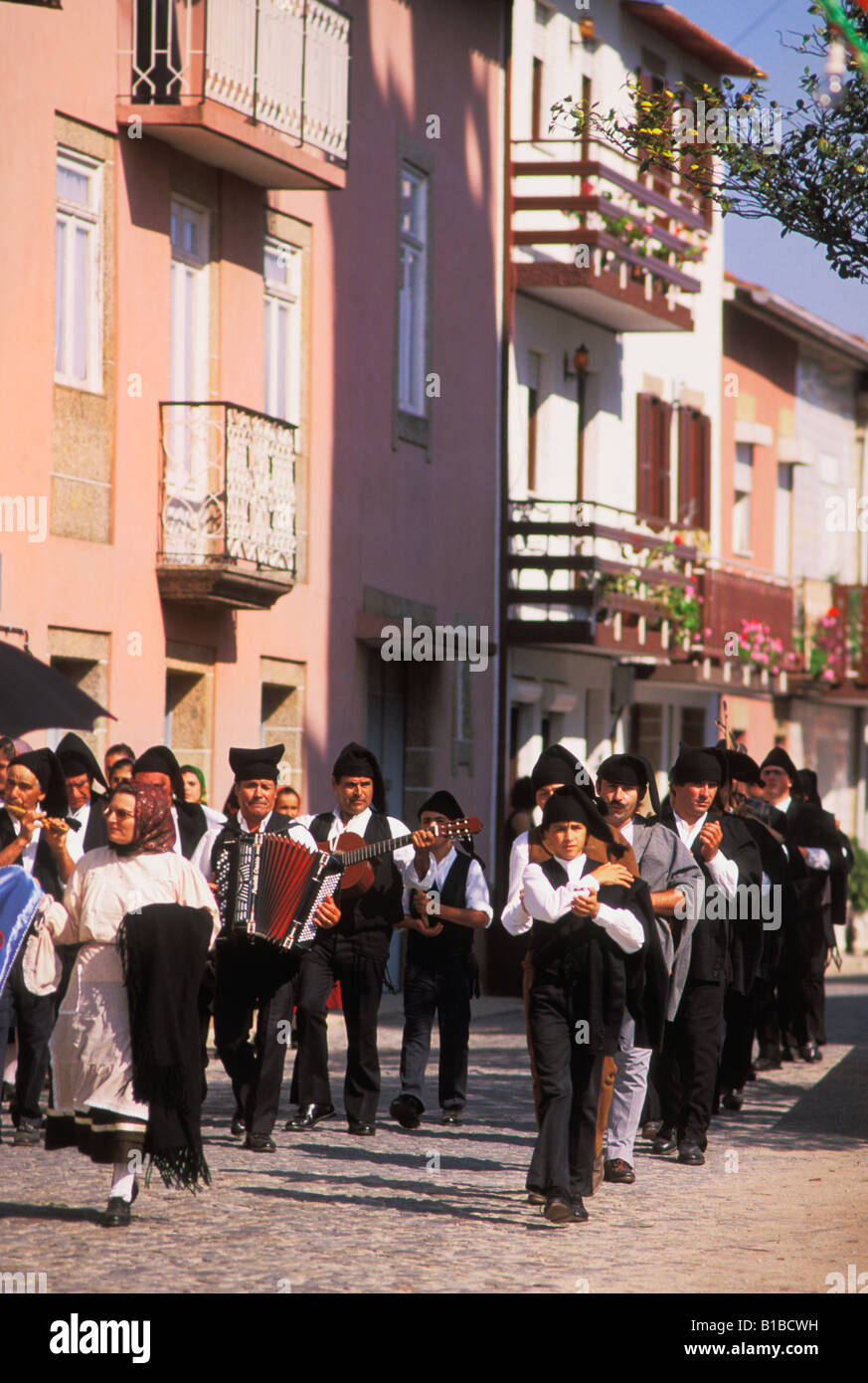 Traditionally costumed Musicians at Folklore Festival in Baqueiros in Minho on the Northern Atlantic coast of Portugal - Stock Image