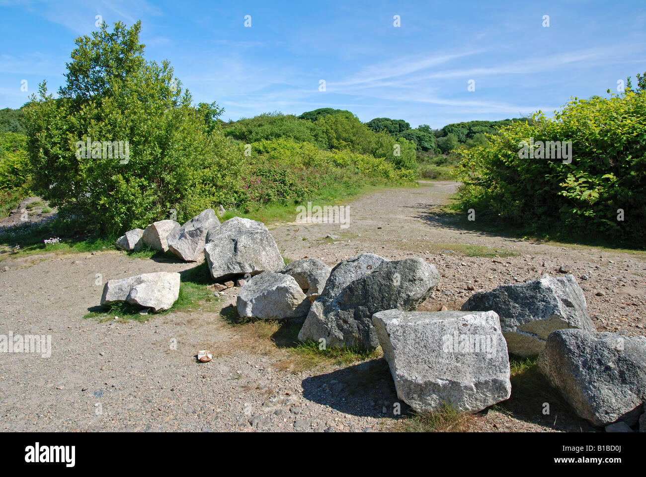 a  roadblock to prevent travellers setting up camp on old mining wasteland near truro in cornwall,england, uk - Stock Image