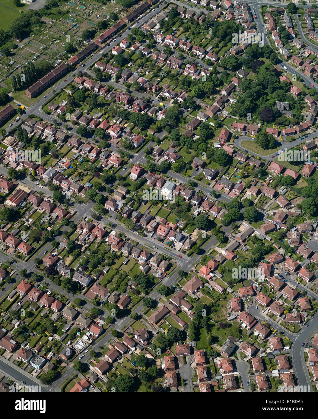 Roundhay, North Leeds Suburban Housing from the Air, West Yorkshire, Northern England - Stock Image