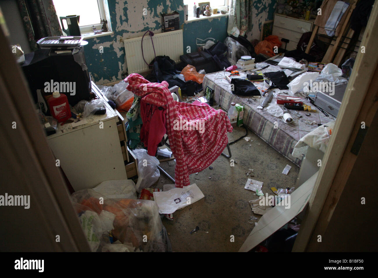 A room used for injecting in the home of a heroin addict. - Stock Image