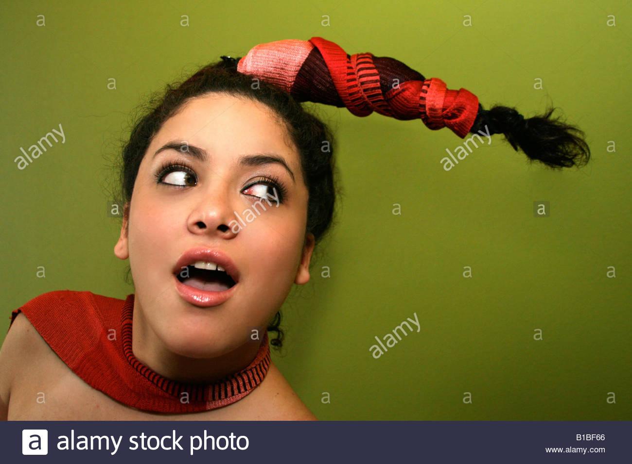 girl woman female spanish hispanicweird hairdo beautiful – fade