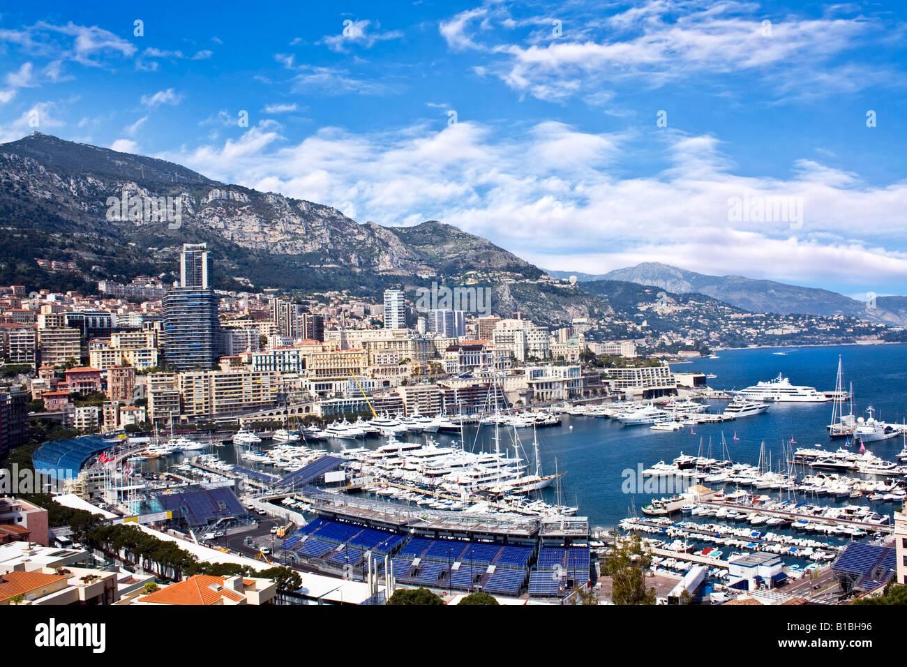 MONACO, MONTE CARLO. View of the Port of Hercules, La Condamine, Monte Carlo, Monaco Stock Photo