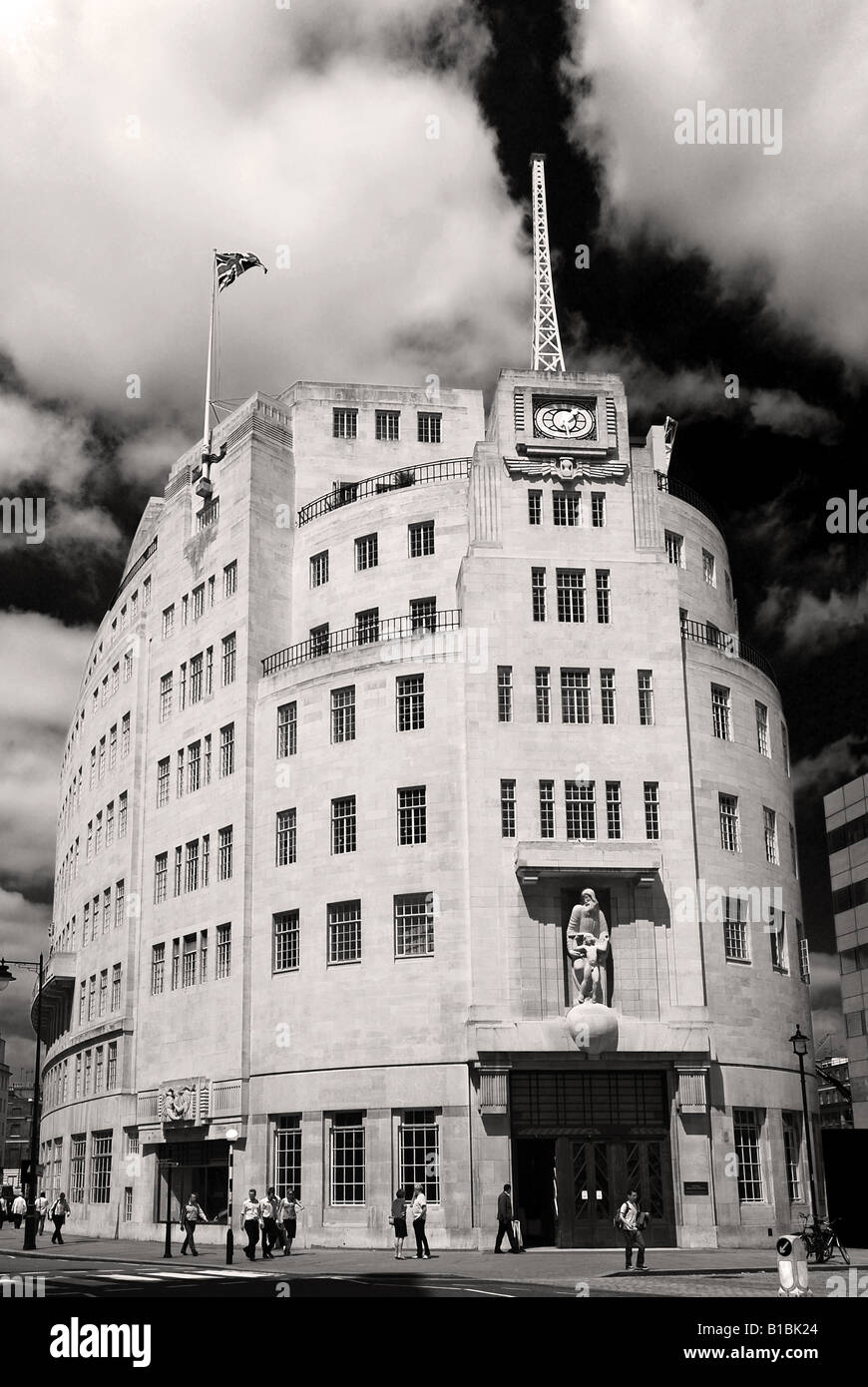 BBC HQ, Broadcasting House Portland Place London, in black & white (colour version available) Stock Photo