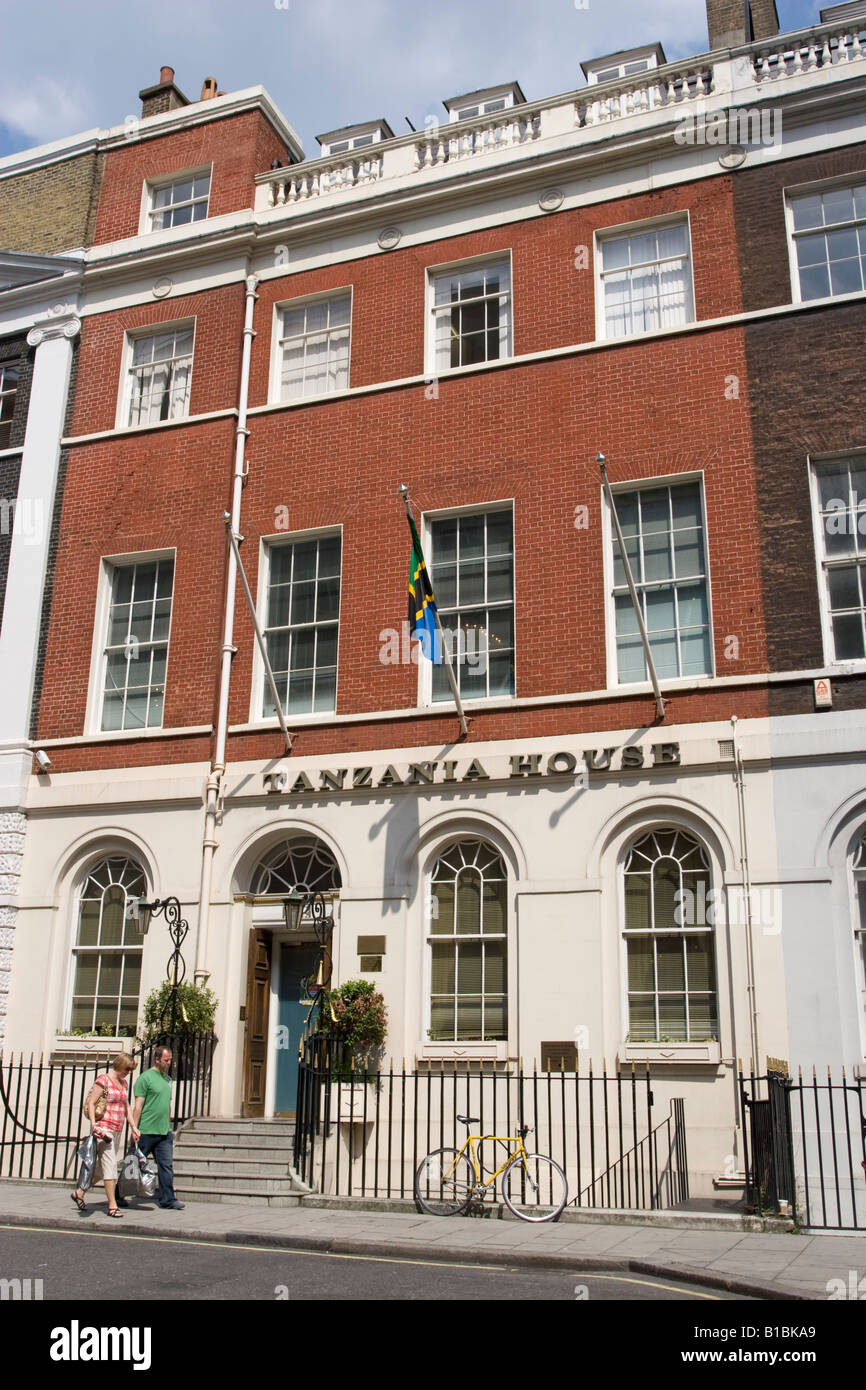 The Tanzanian High Commission, 3 Stratford Place, Westminster, London - Stock Image