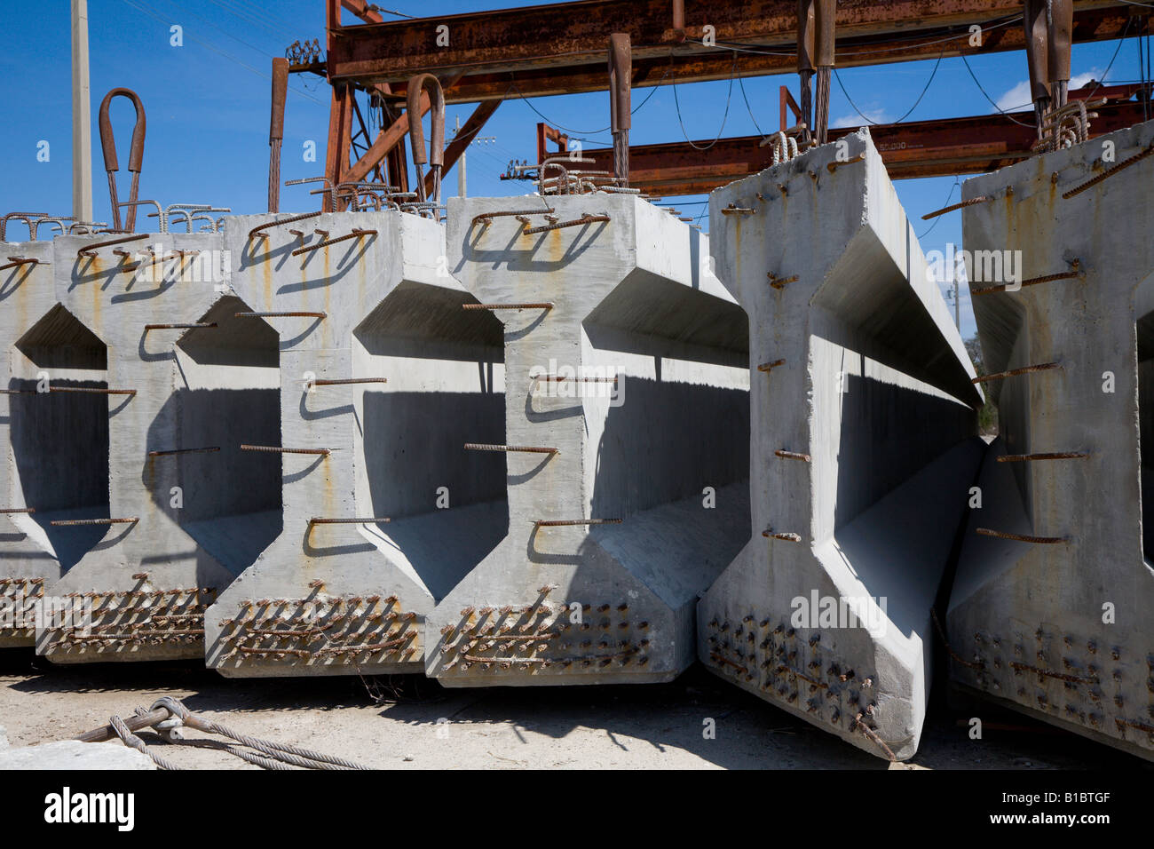 precast prestressed highway bridge girders at production facility in central florida usa stock image