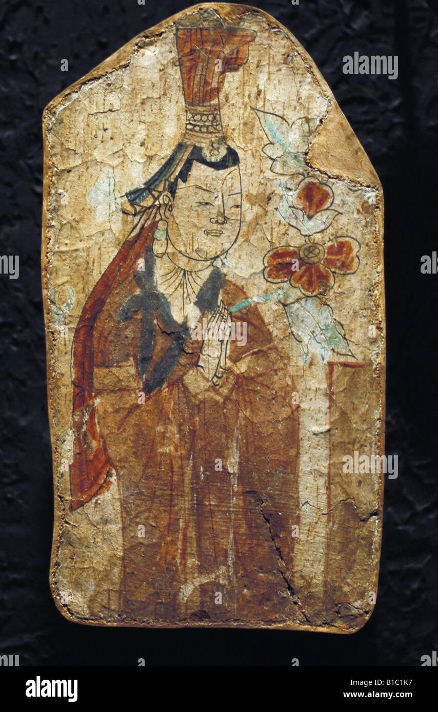 fine arts, China, Uyghur painting, lady with headdress, fresco, Bezeklik Monastary, 8th/9th century, Museum for - Stock Image