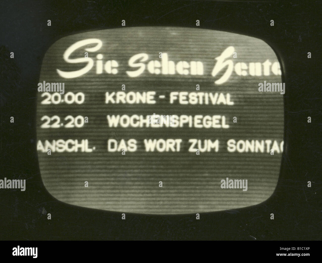 broadcast, television, programme, evening programme of the ARD, screenshot, Germany, circa 1954, Additional-Rights - Stock Image