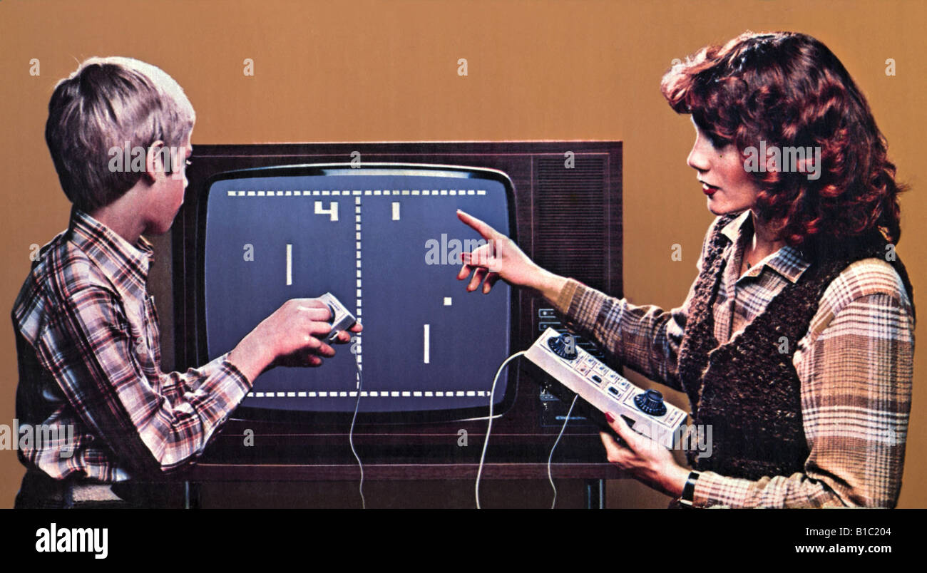 """computing \/ electronic, games, first video game """"Pong"""", mother with Stock Photo - Alamy"""