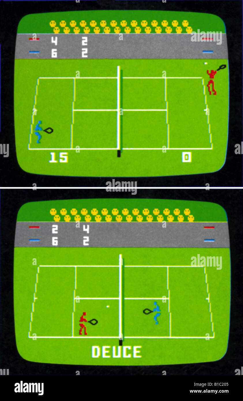 computing / electronic, video, games, tennis video game, two screenshots, Germany, circa 1980, historic, historical, - Stock Image