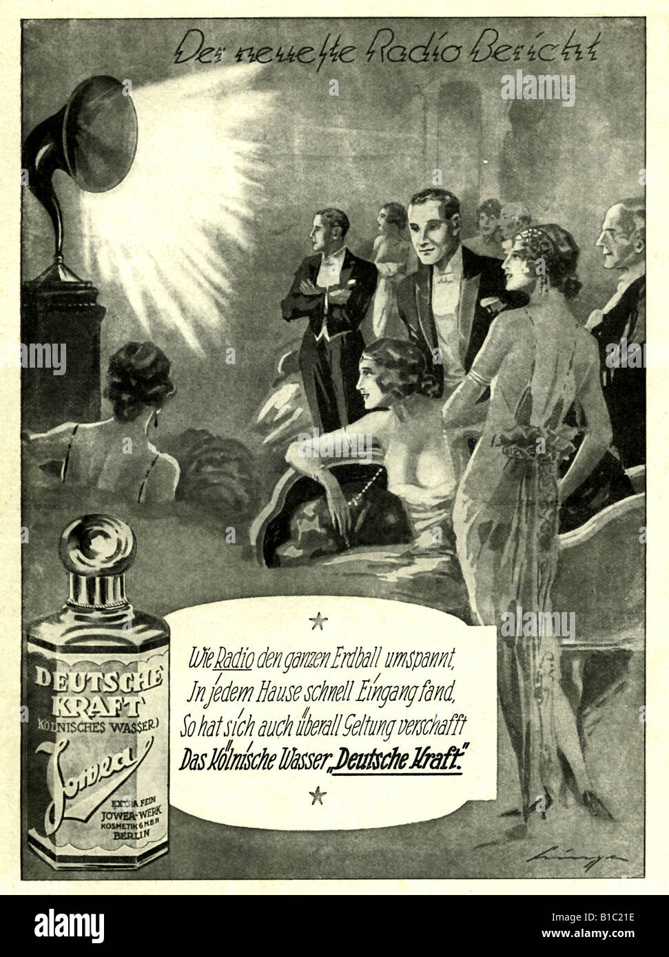 advertising, cosmetics, Eau de Cologne, High Society is listening to radio, Germany, circa 1925, Additional-Rights - Stock Image