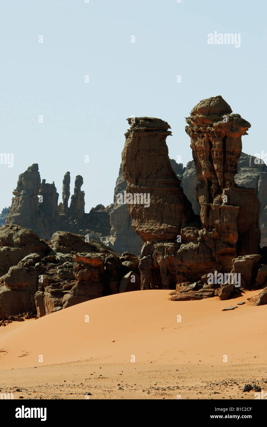 geography / travel, Algeria, landscapes, Tadrart Mountain, rock column, Additional-Rights-Clearance-Info-Not-Available Stock Photo