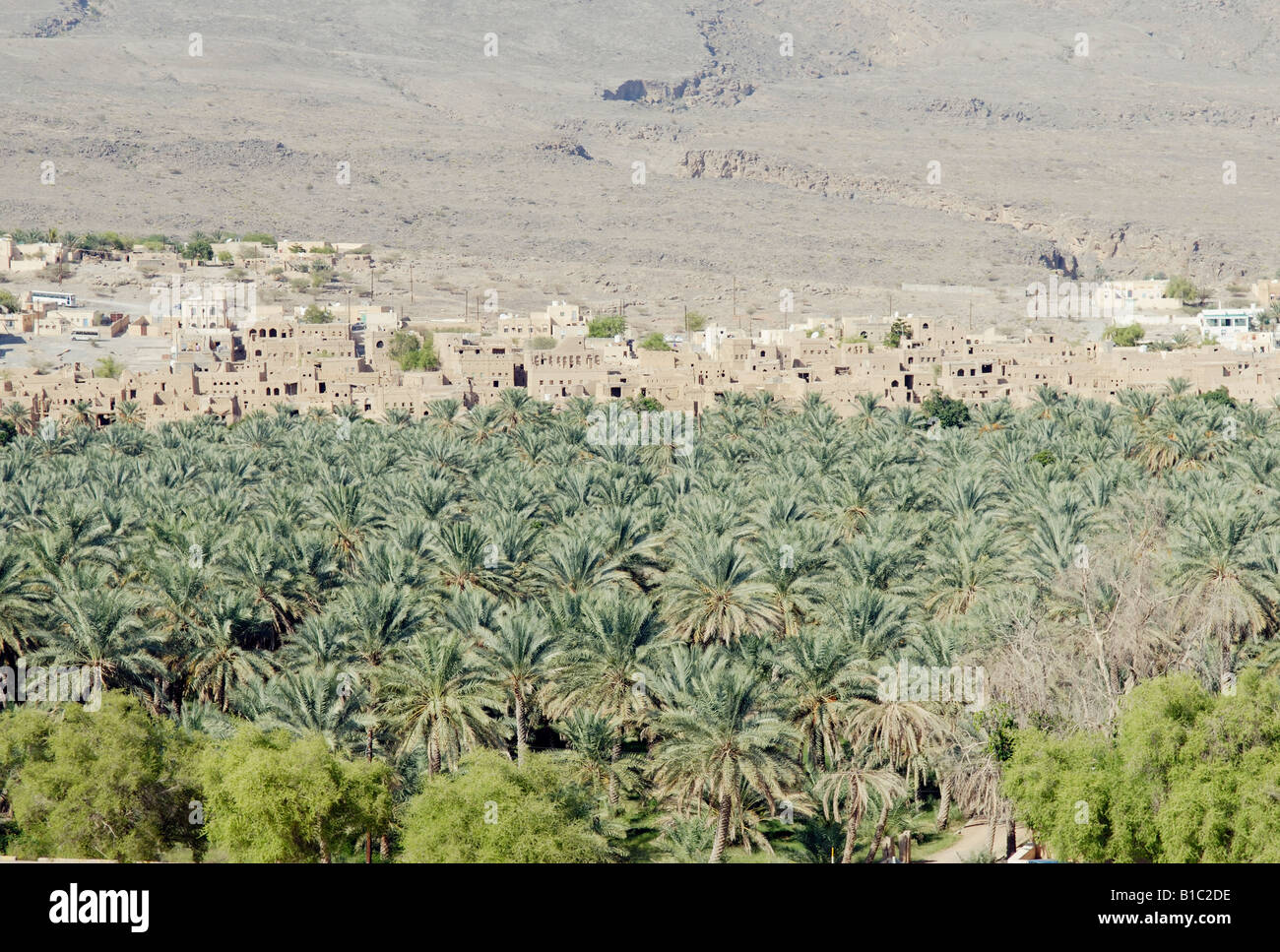 geography / travel, Oman, Al-Hamra, city views / cityscapes, oasis with palm trees, Additional-Rights-Clearance - Stock Image