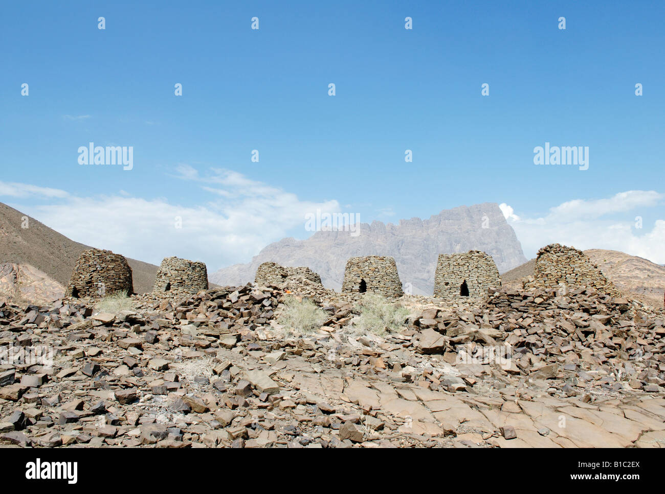 geography / travel, Oman, Al-Ayn, stone tombs, ruins in Western Hajar Mountains, Additional-Rights-Clearance-Info - Stock Image