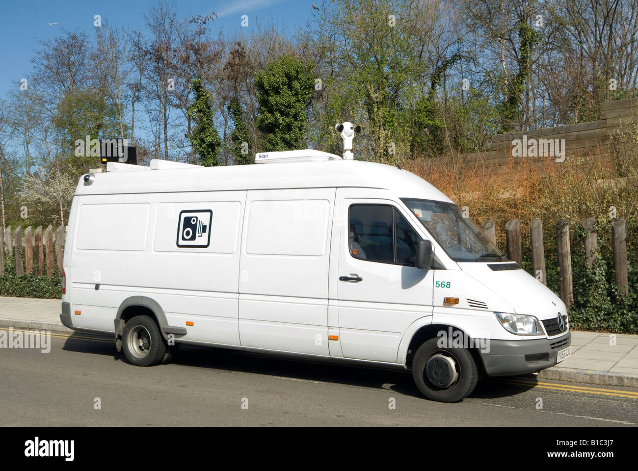 white speed camera van in the centre of the city of london england ...