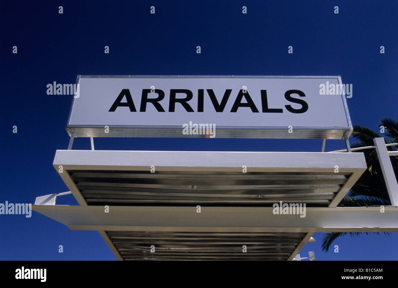 Sign at airport terminal Arrivals Hosea Katako Namibia Africa backgrounds travel destinations words information - Stock Image