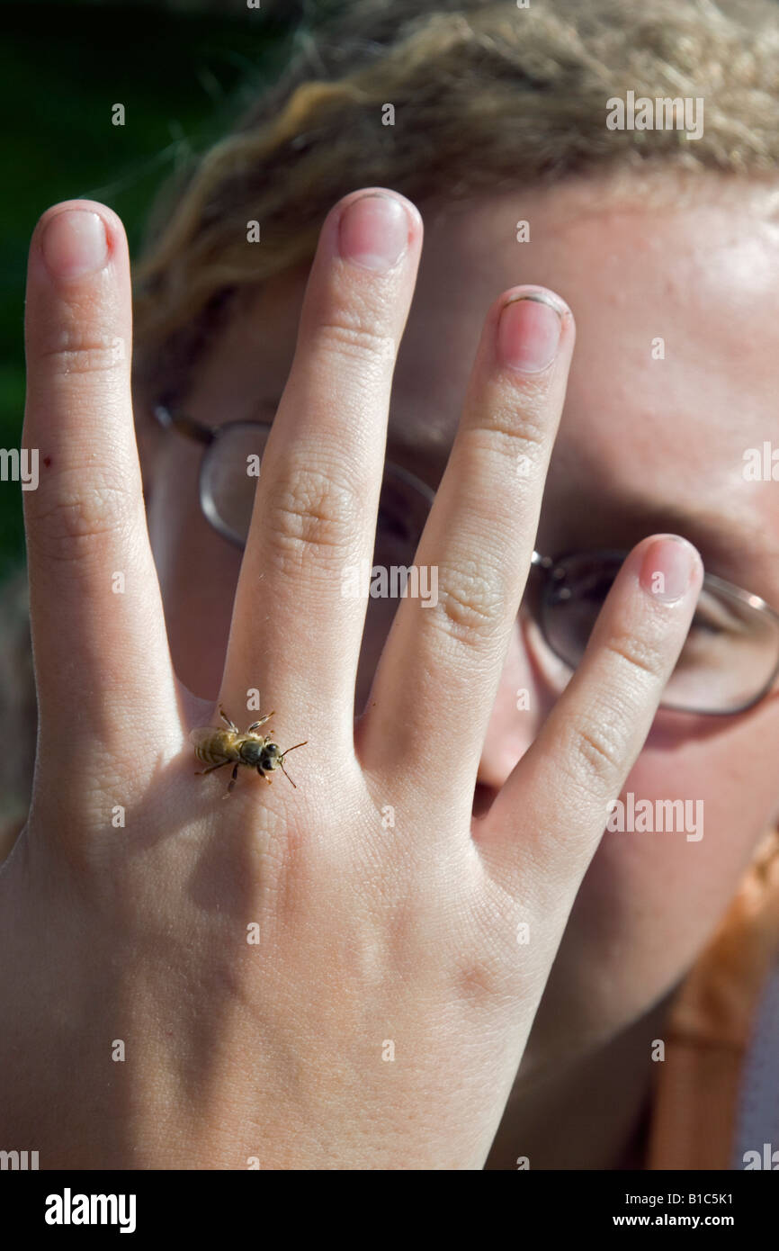 A Girl Scout lets a honey bee crawl over her had as her Scout troop learns about bees and beekeeping - Stock Image