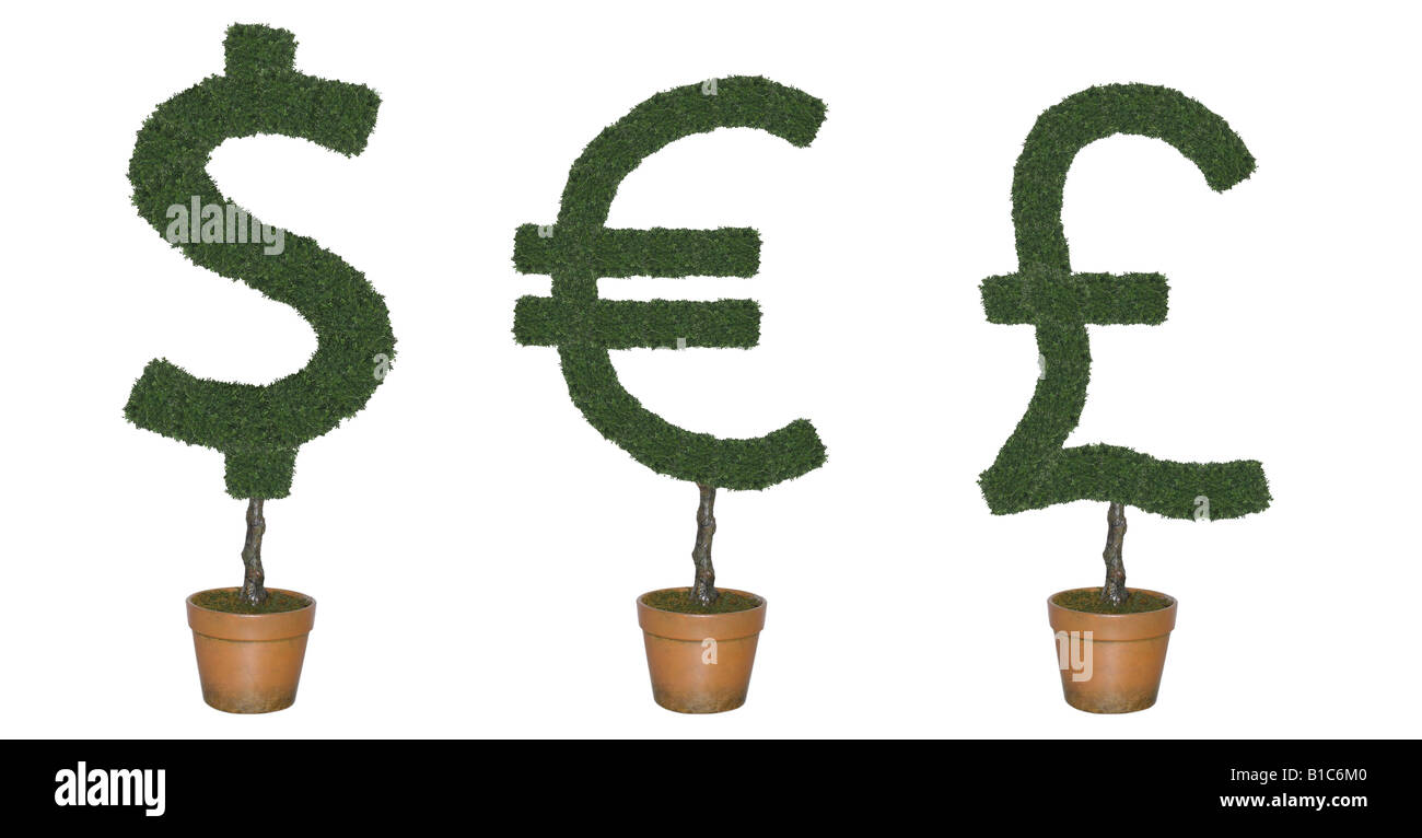 Topiary trees in shape of world currency symbols cut out on white