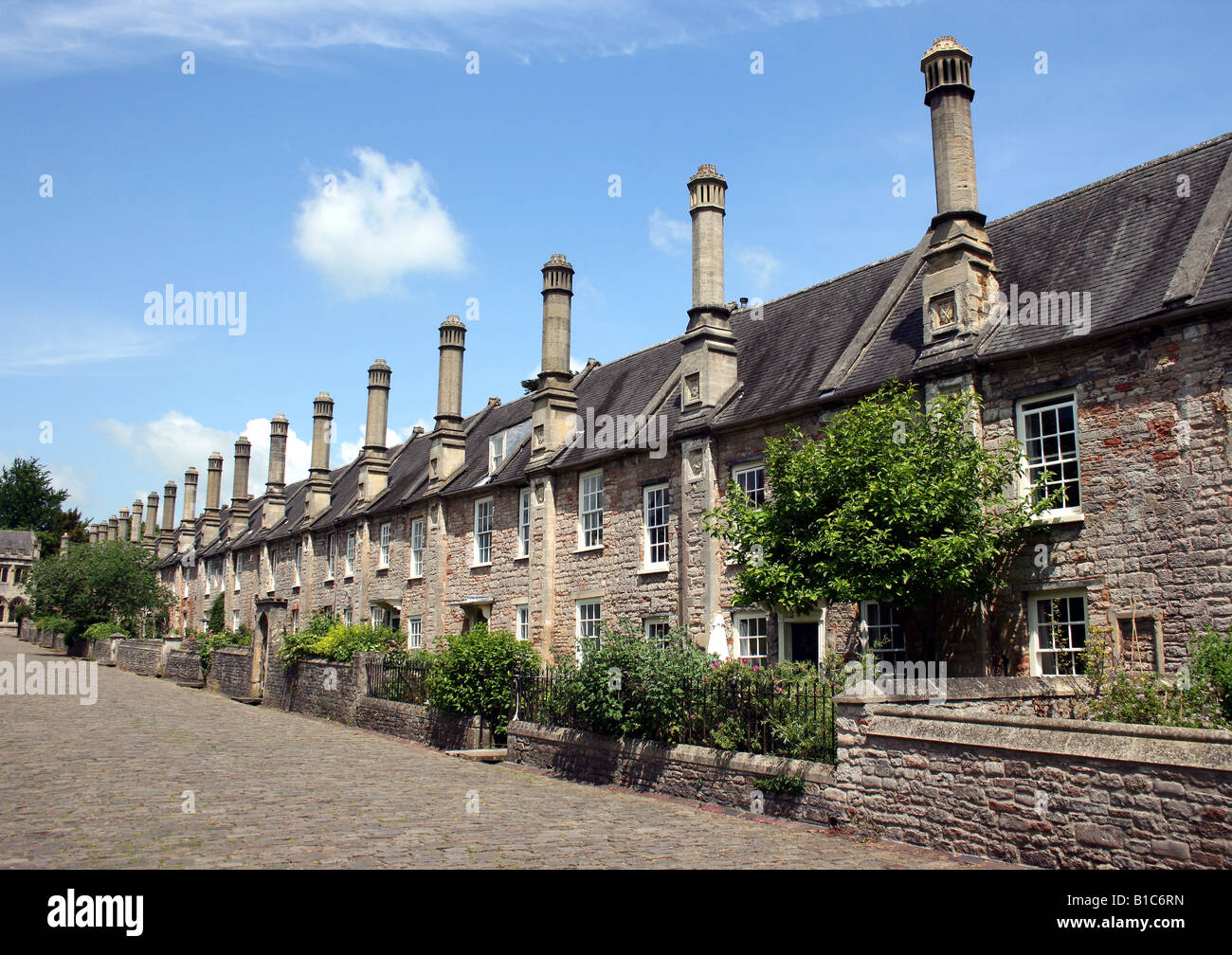 View of Vicars' Close, near Wells Cathedral, - the oldest continuously inhabited street in Europe, housing members - Stock Image