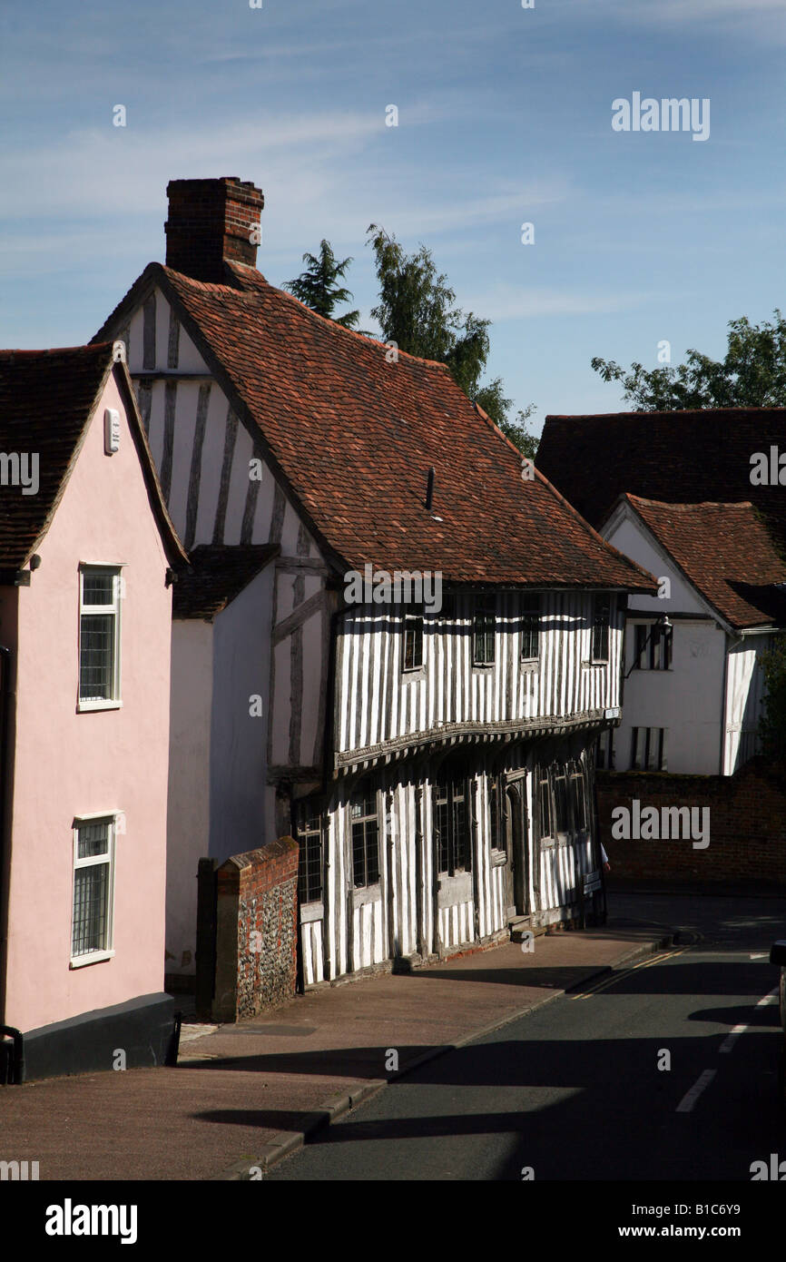 Lavenham Suffolk Tudor buildings in the town centre - Stock Image