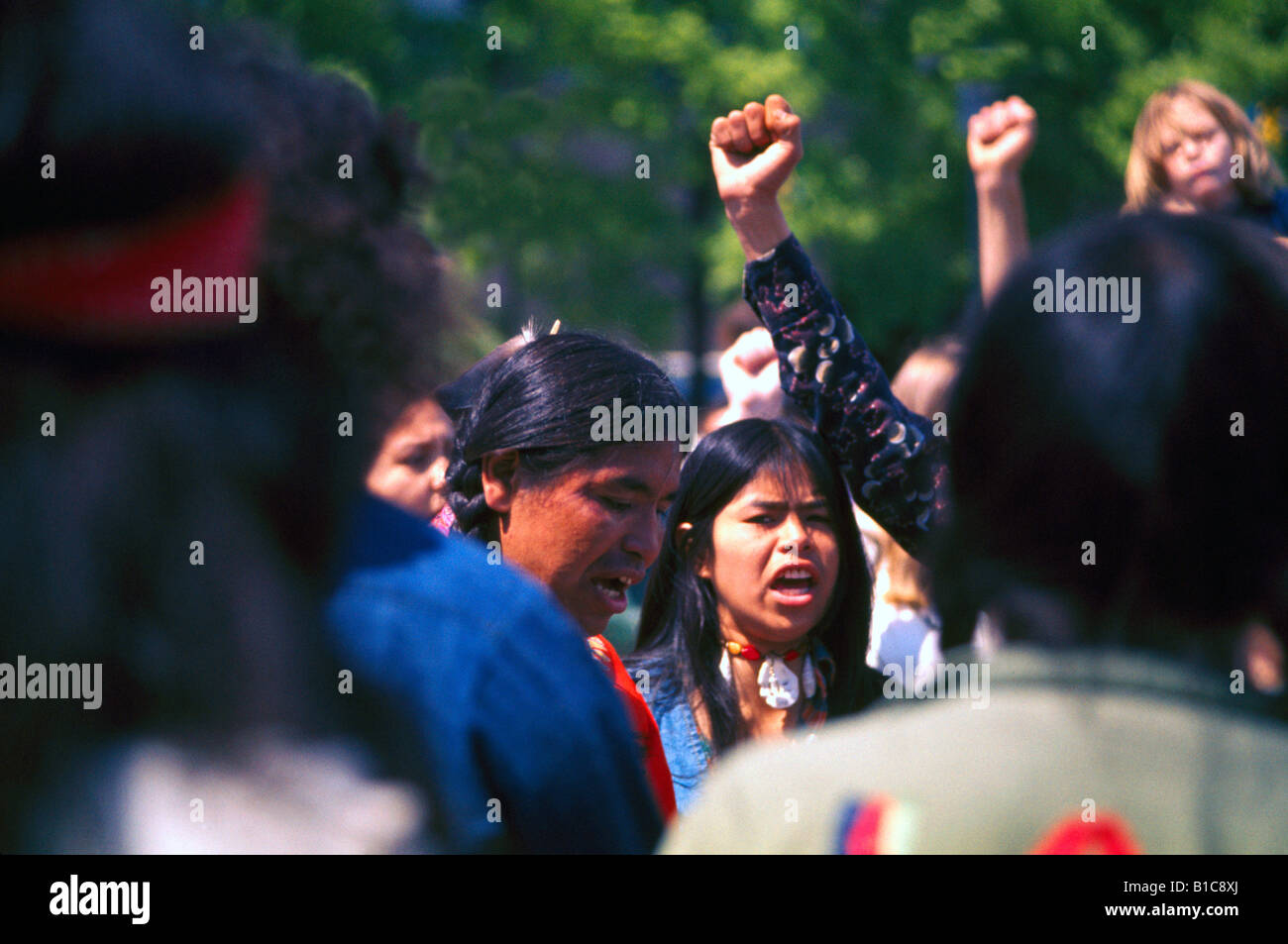 Native American Indians, First Nations, Protest Demonstration, Protesters and Demonstrators with Raised Fist in Stock Photo