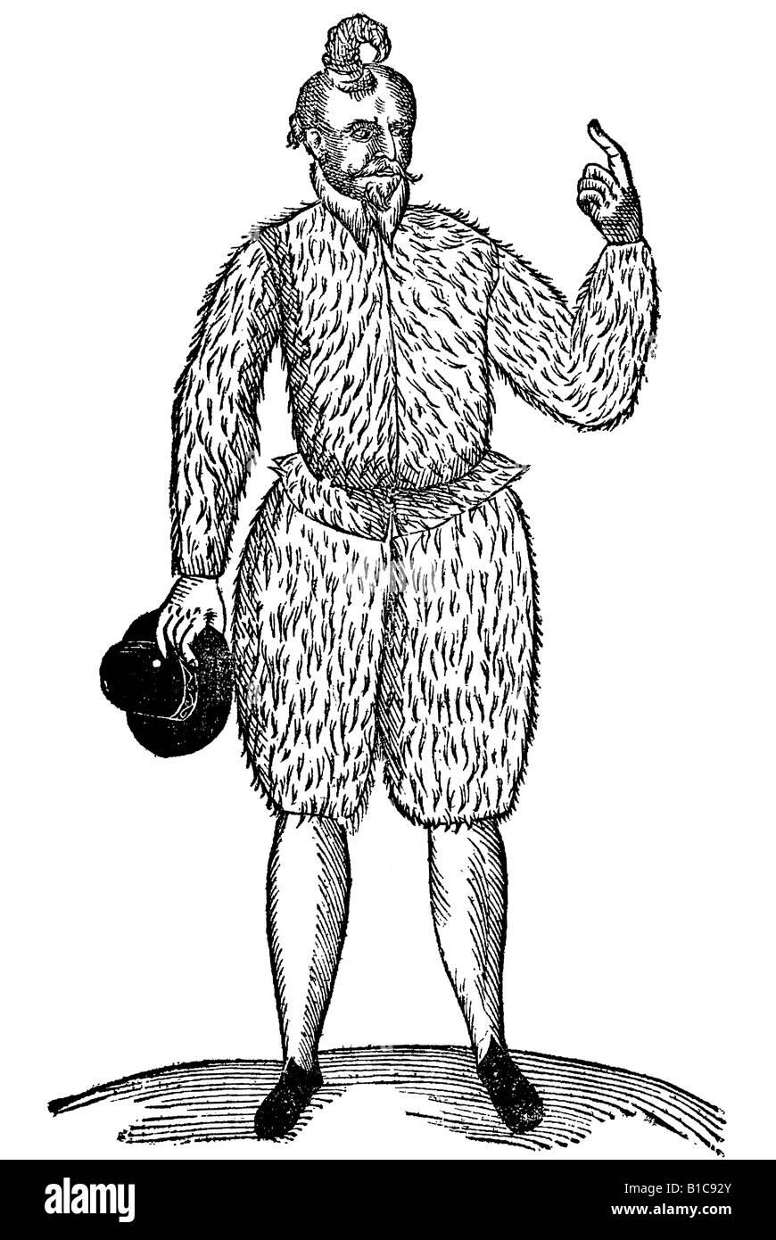 Homo cornutus in Ducatu Humenae inuentus, Aldrovandi, 1642, 17th century, renaissance, Europe - Stock Image