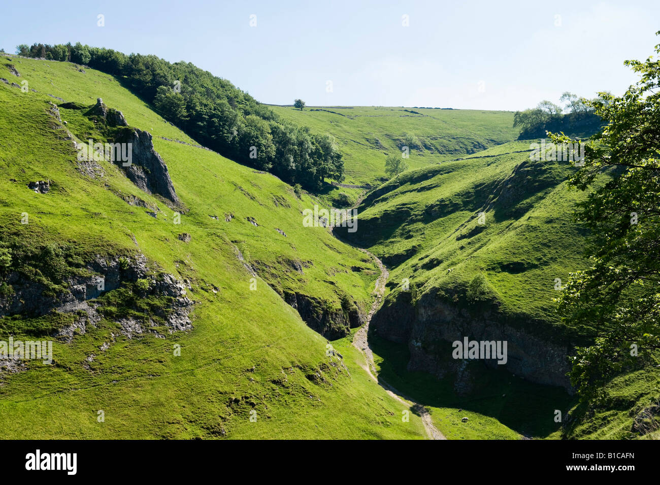 View from the rear walls of Peveril Castle, Castleton, Peak District, Derbyshire, England, United Kingdom - Stock Image
