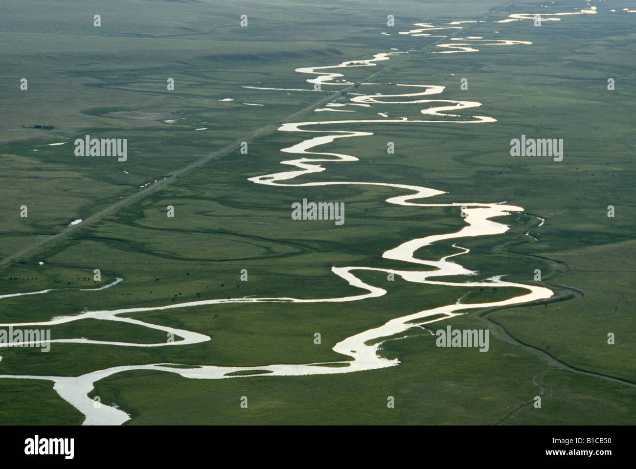 AERIAL VIEW OF MEANDERS ON THE SOUTH PLATTE RIVER; NOTE: BARS WHICH ...
