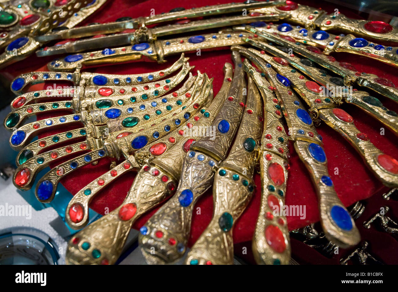 Letter Daggers. An array of jewel encrusted letter openers is part of a vendor display in the famous Istanbul Grand - Stock Image