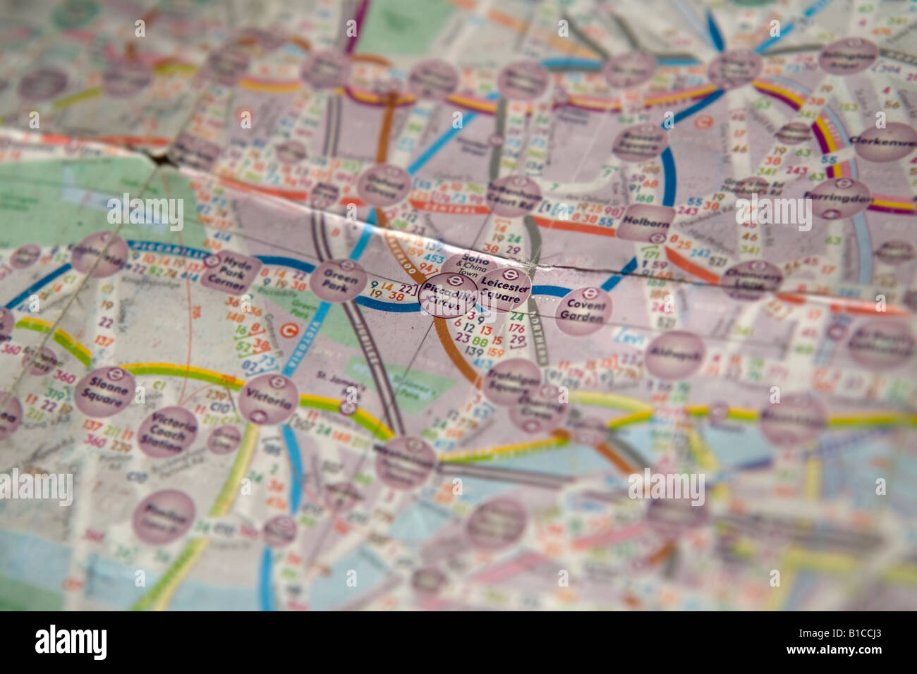 Piccadilly Circus and Leicester Square highlighted on a map of