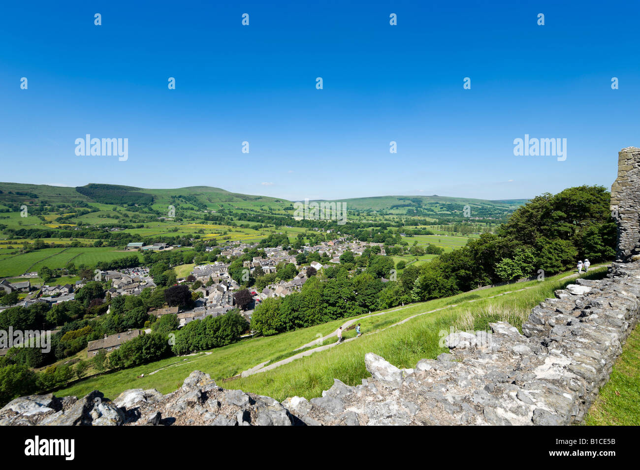 View from the walls of Peveril Castle over the village of Castleton, Peak District, Derbyshire, England, United - Stock Image